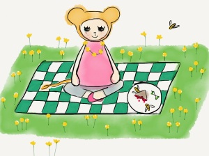 Leola had a picnic in the park and made her first daisy chain.