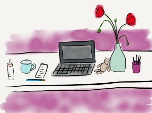 image desk with poppies