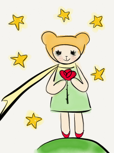 Leola with rose and stars The Little Prince